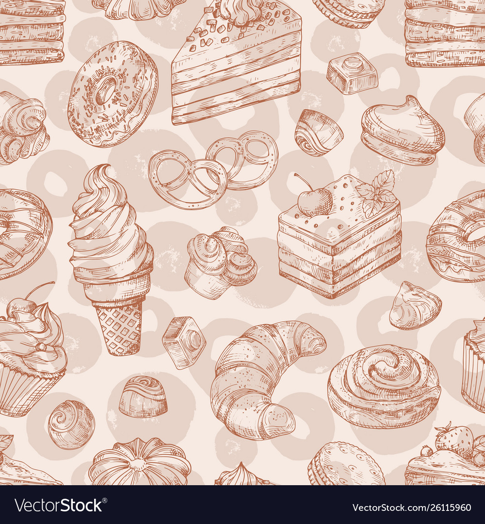 Hand drawn pastries bakery desserts