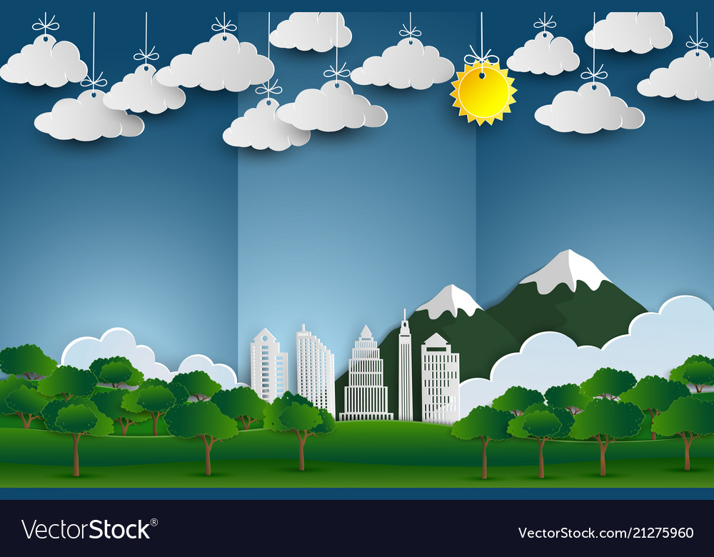 Landscape with building and nature background