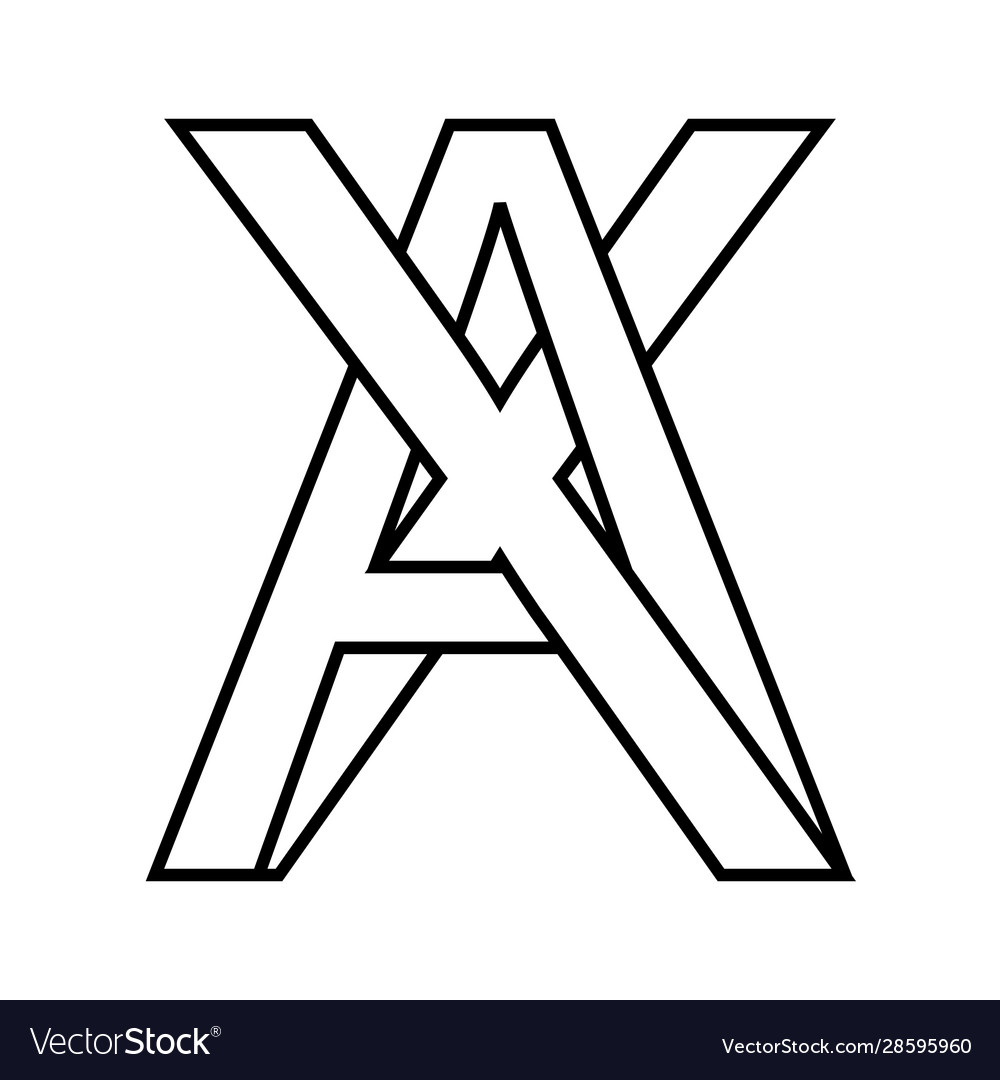 Logo sign ax xa icon sign interlaced letters a x