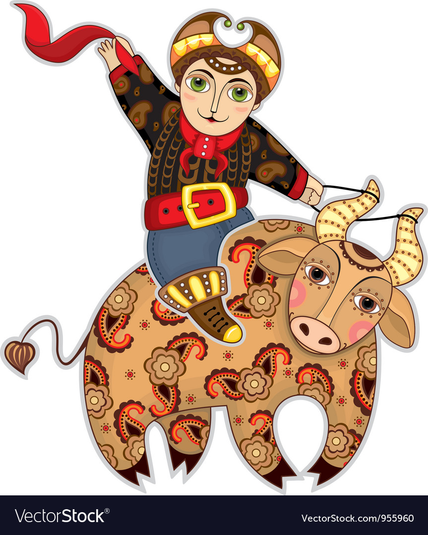 Man Bull Rodeo Isolated vector image