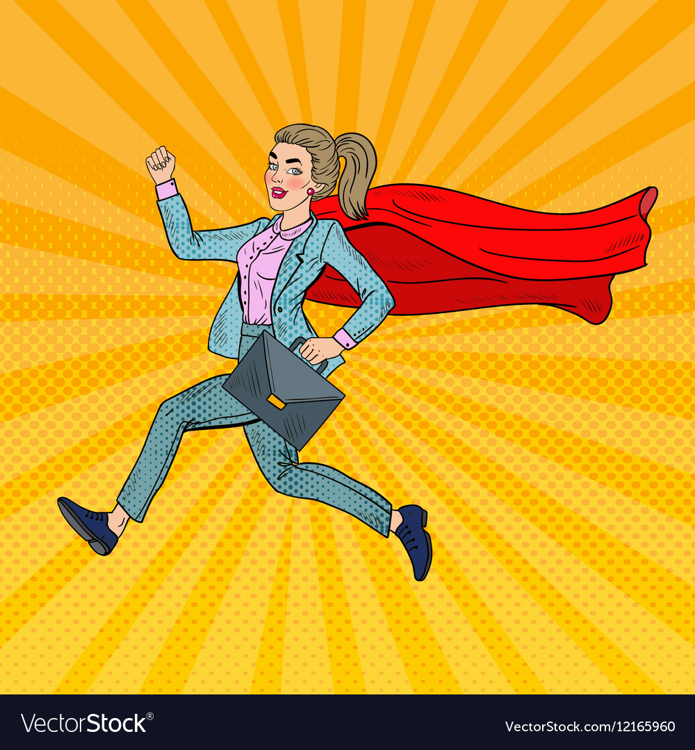 Pop Art Super Business Woman with Red Cape