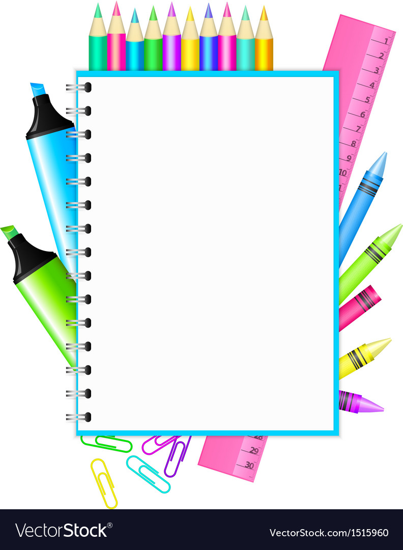 School frame with colorful stationery vector image