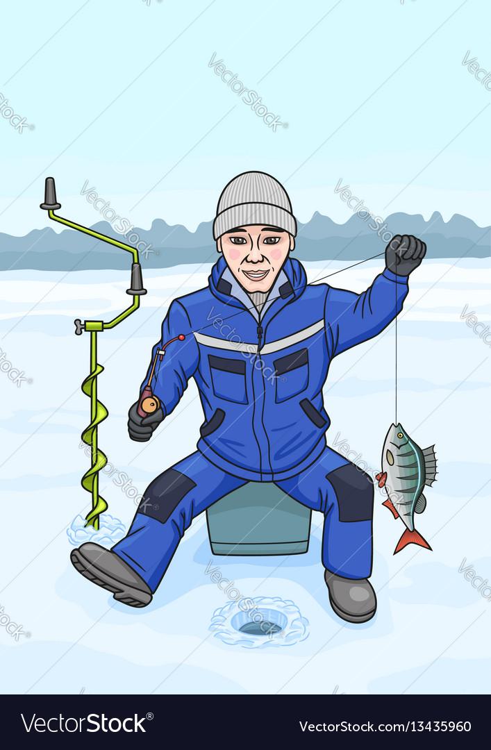 The fisherman on winter fishing vector image