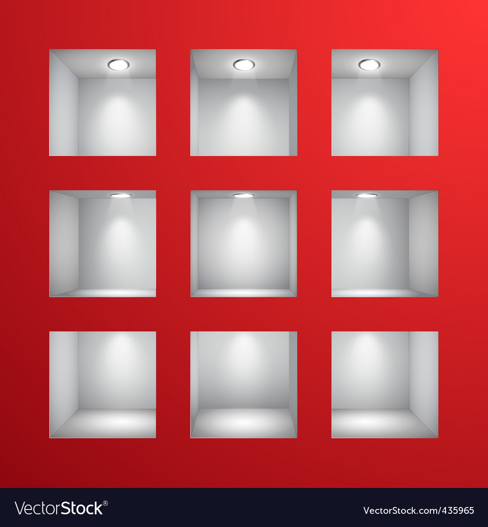 3D shelves vector image