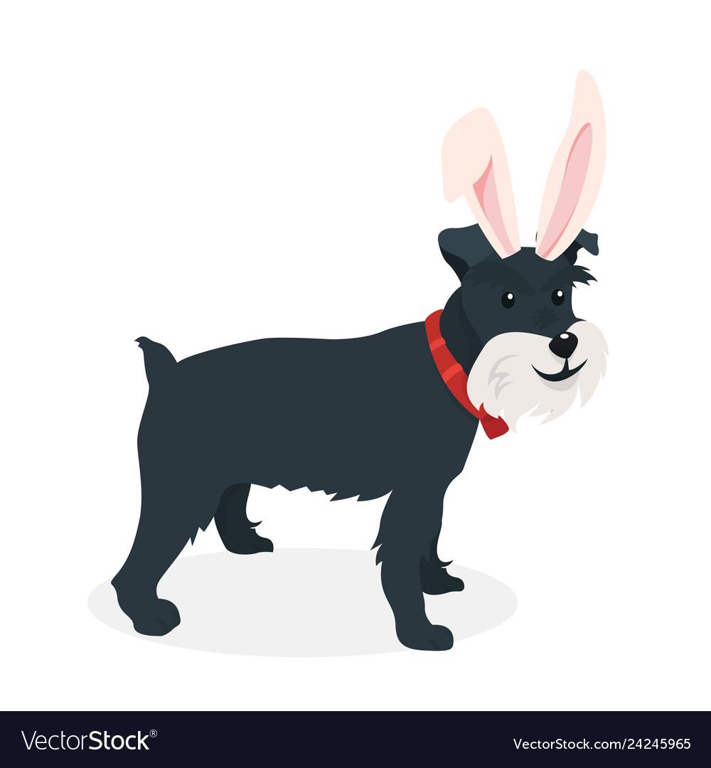 A dog with bunny ears