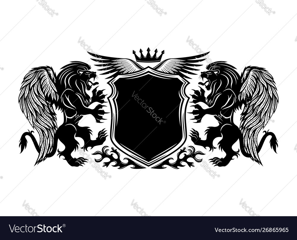 Black sign with winged lions and a shield