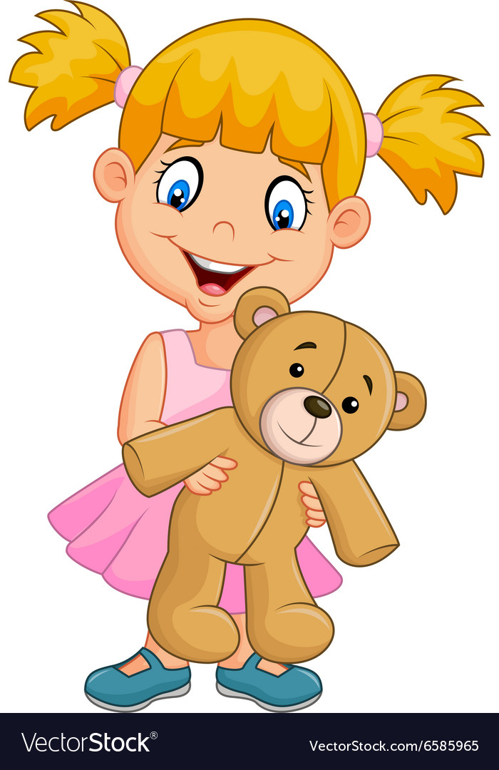 Cartoon little girl playing with teddy bear vector image