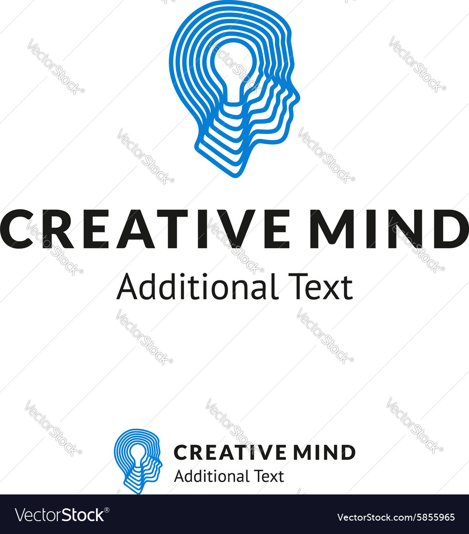 Creative Logo with Man Head and Lamp for
