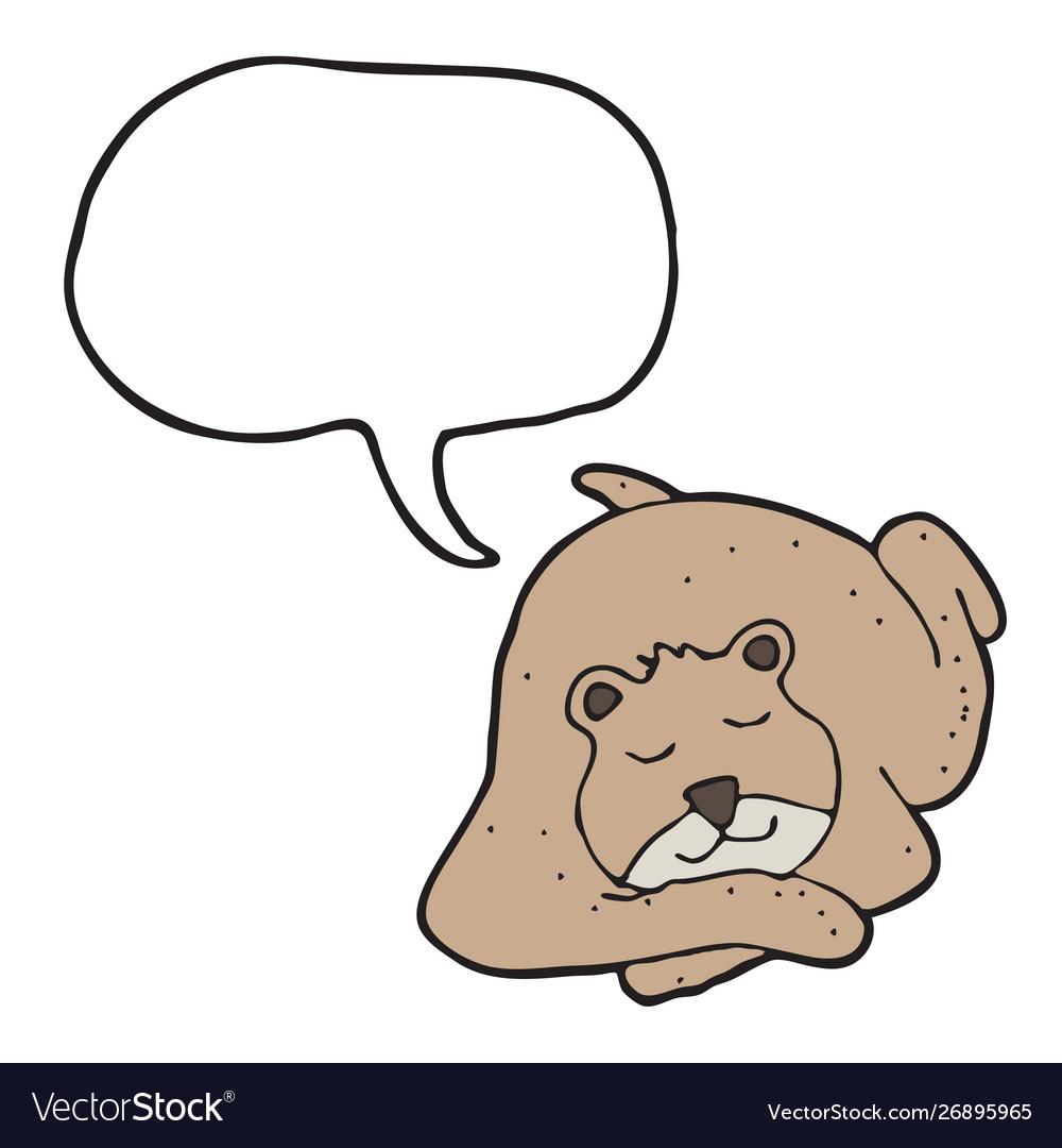 Digitally drawn bear and speech bubble design