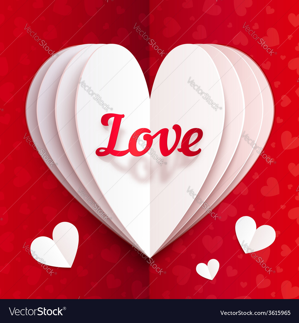 folded paper heart with sign love royalty free vector image