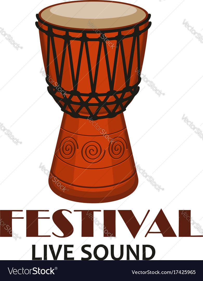 Music concert or folk festival symbol with drum