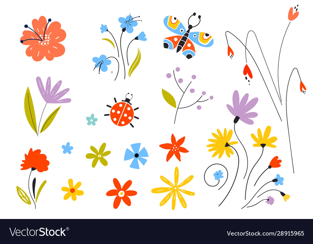 Set multicolored spring flowers