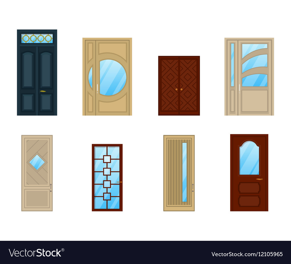 Set Of Doors With Gl Or Windows Design