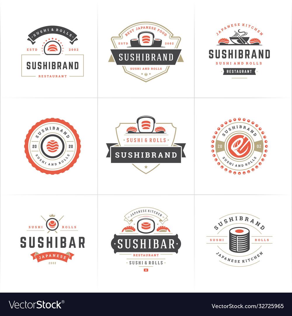 Sushi restaurant logos and badges set japanese