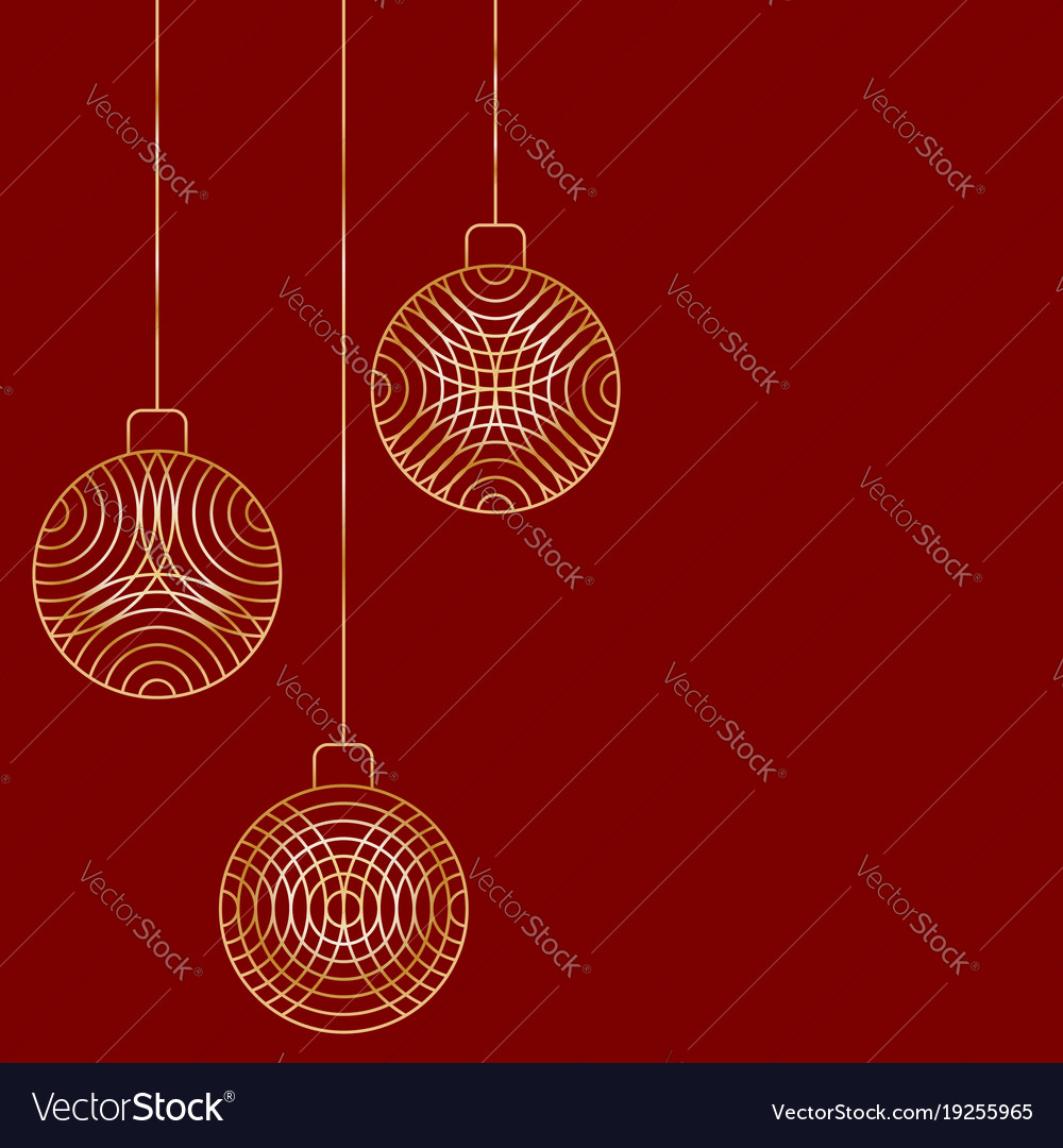 three christmas ball toy decorations hanging on vector image