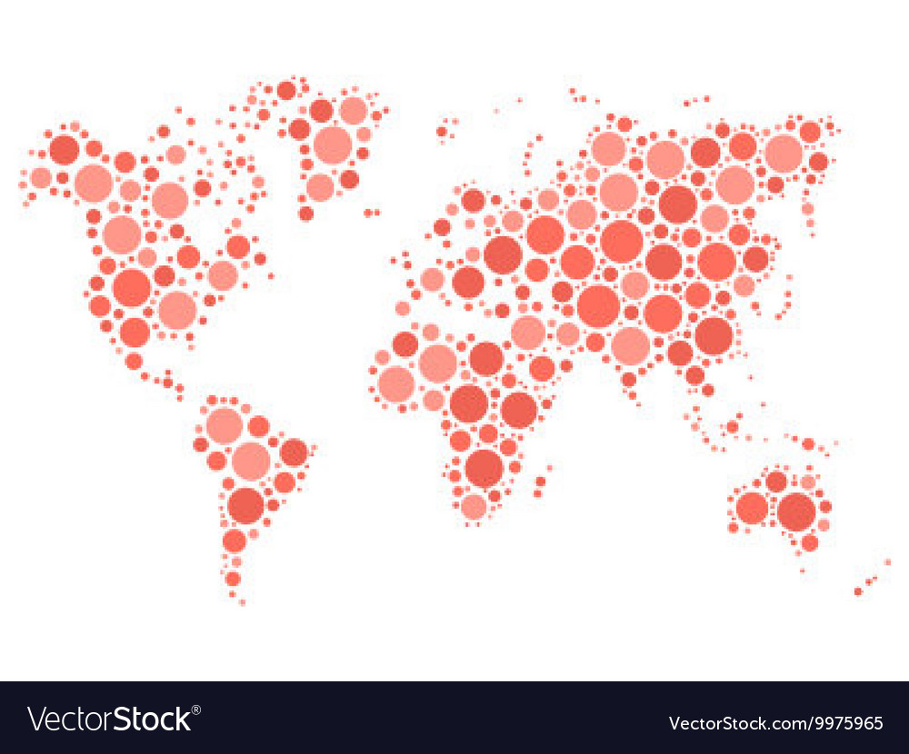World map mosaic of red dots