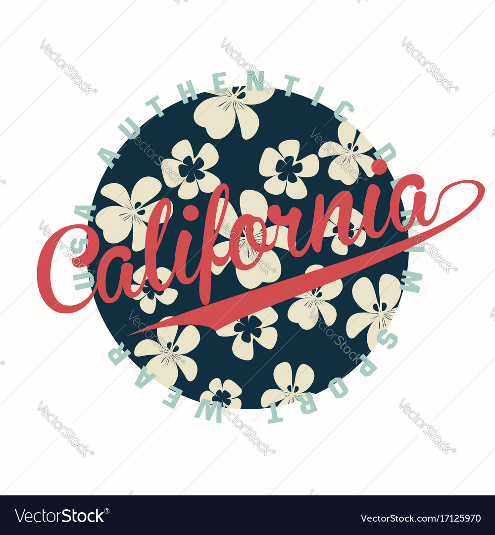 California typography for t-shirt print with