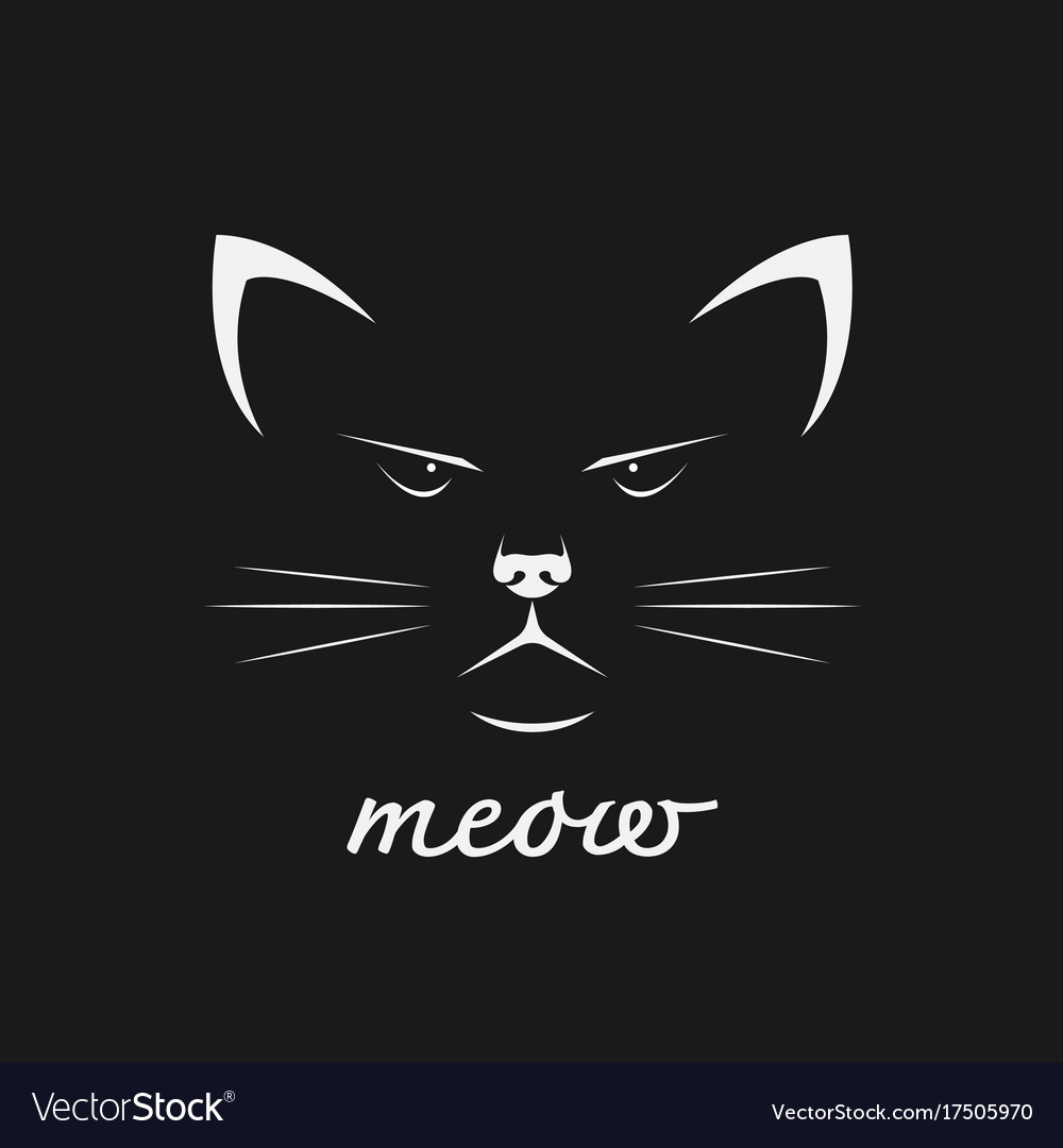 Cat face design on black background pet animal