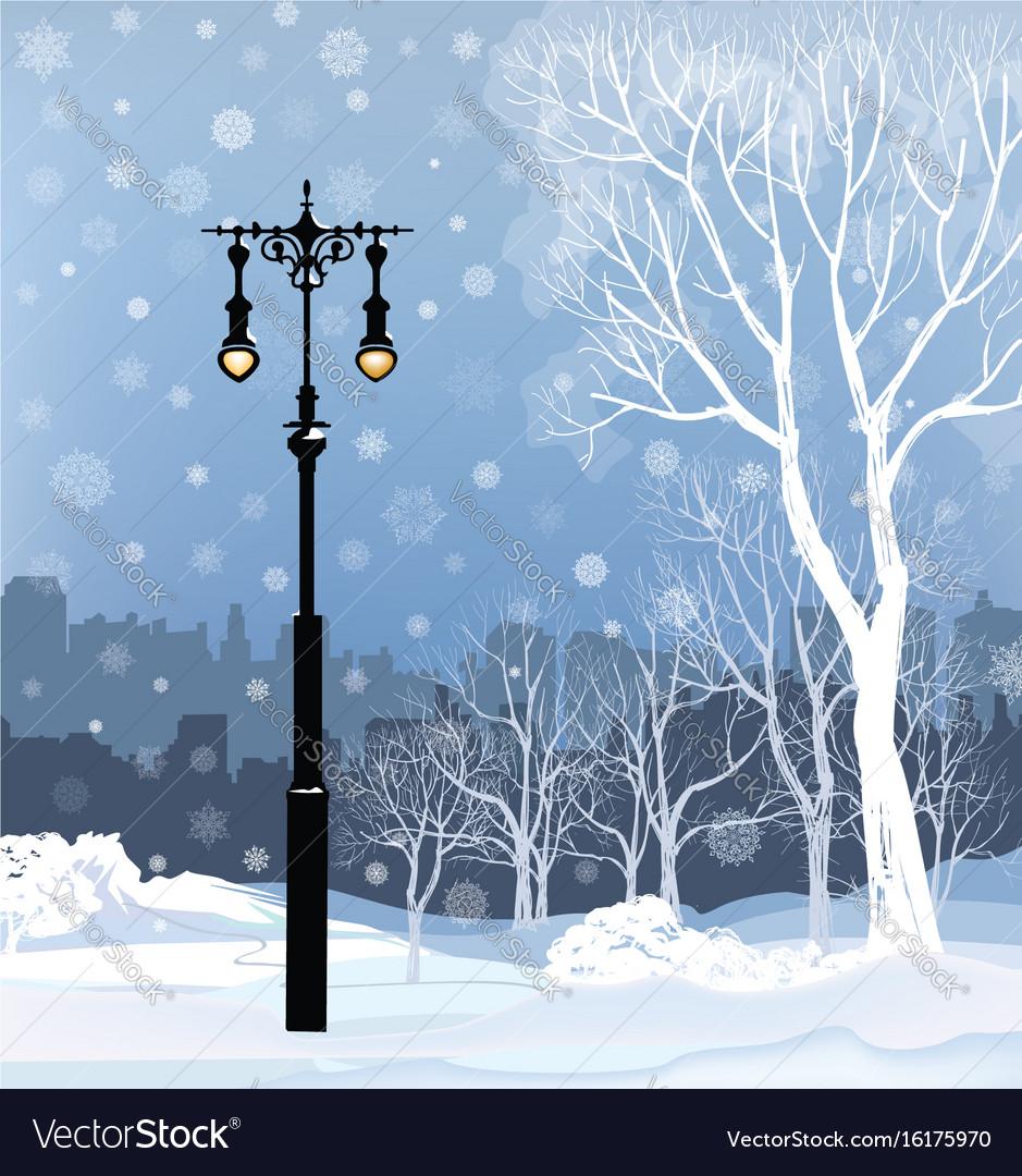 Christmas winter cityscape snow city park skyline