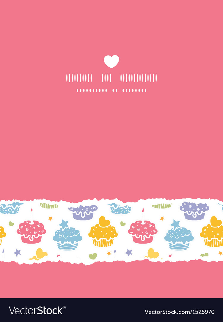 Colorful cupcake party vertical torn seamless vector image