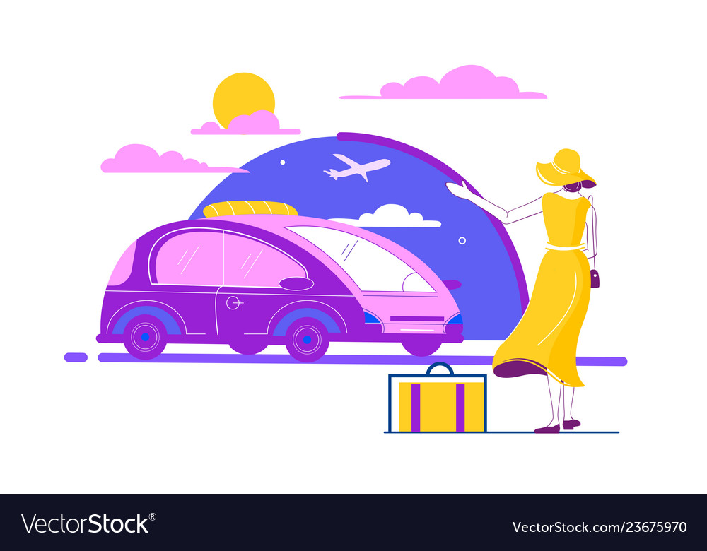 Flat beautiful young woman with luggage summer