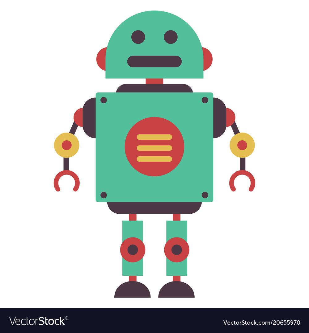 flat robot royalty free vector image vectorstock rh vectorstock com robot vector paths robot vector paths