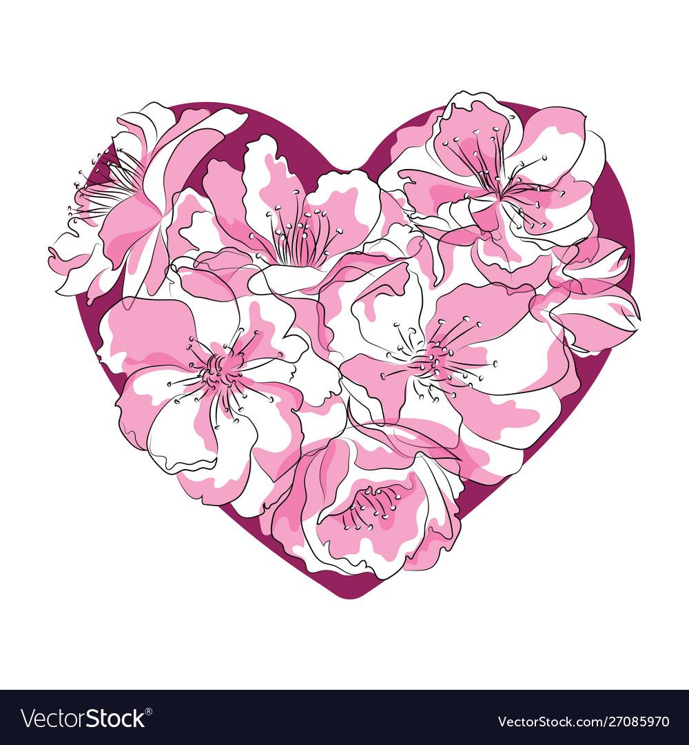 Heart sakura flowers cherry