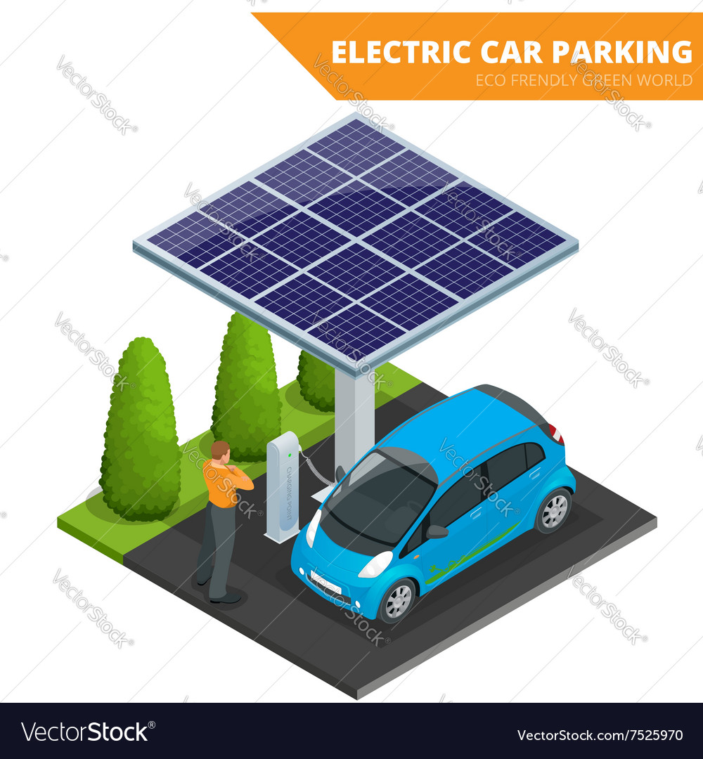 Isometric Electric car parking electronic car