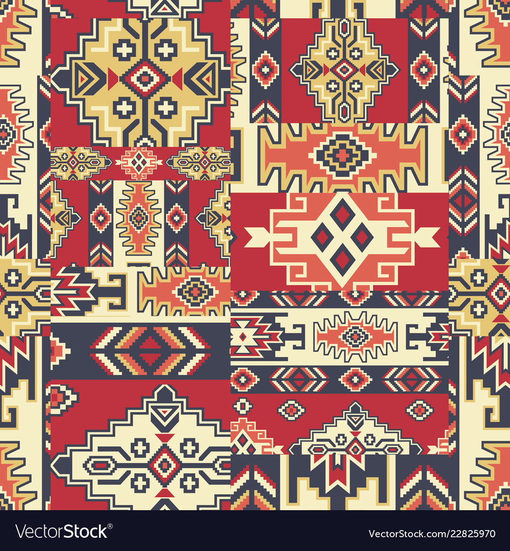 Native american style fabric patchwork wallpaper