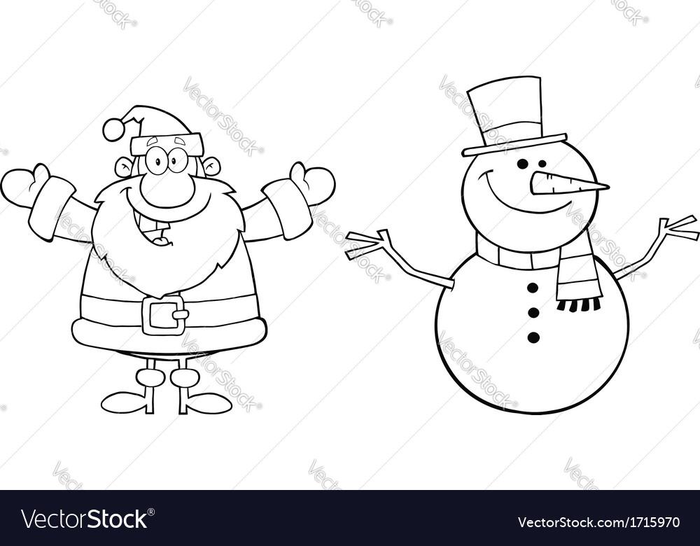 Дед мороз и снеговик картинка черно-белая