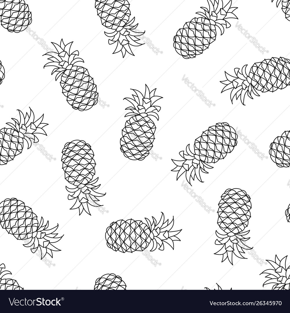 Seamless pattern with pineapple on white