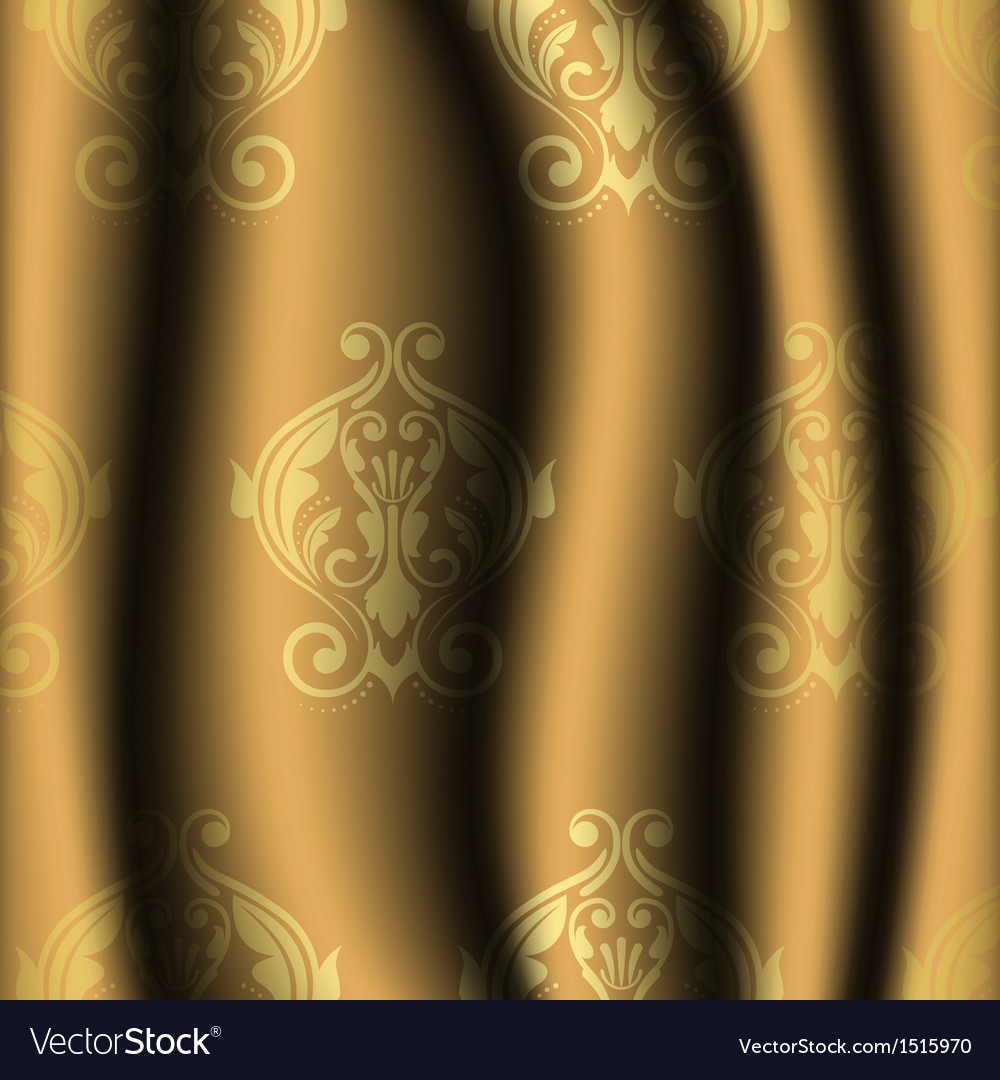 Vintage material with gold pattern vector image