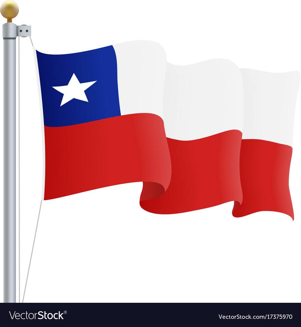 Waving chile flag isolated on a white background vector image