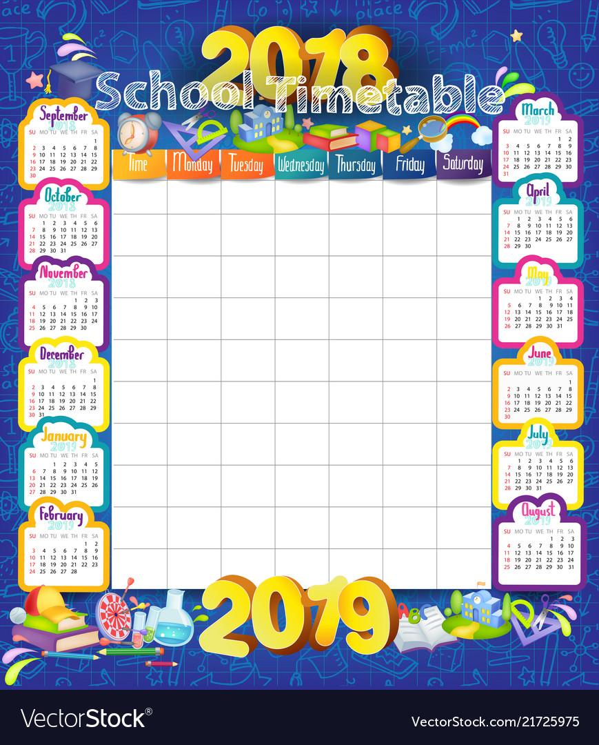 2018-2019 year calendar