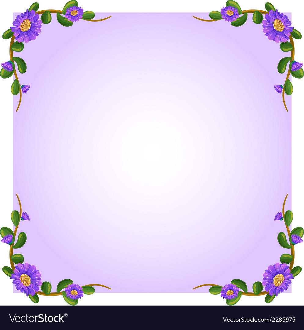 A Lavender Empty Template With Plant Borders Vector Image