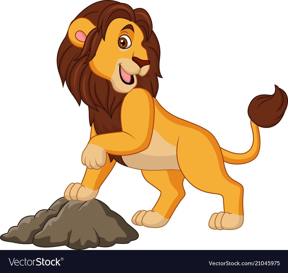 Cartoon smiling lion posing