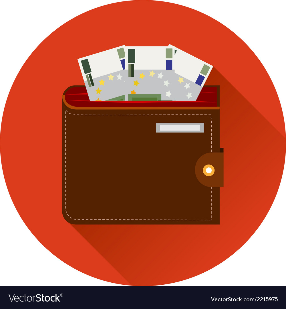 Cash Symbol Purse with Euro Money Icon Template on