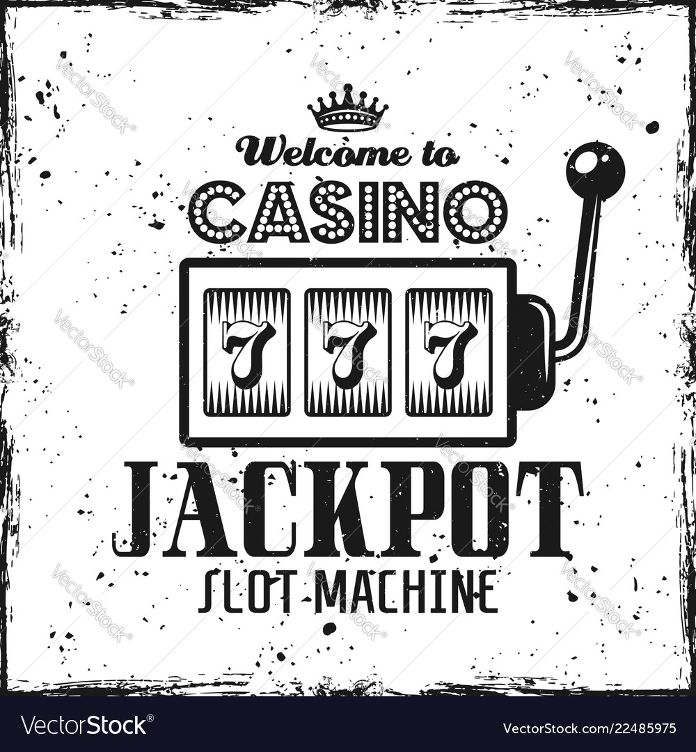 Casino emblem with slot machine and text jackpot