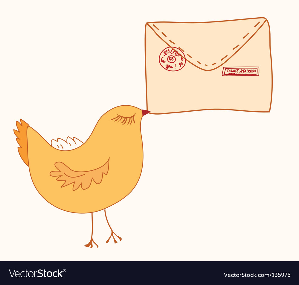 Cute bird with letter vector