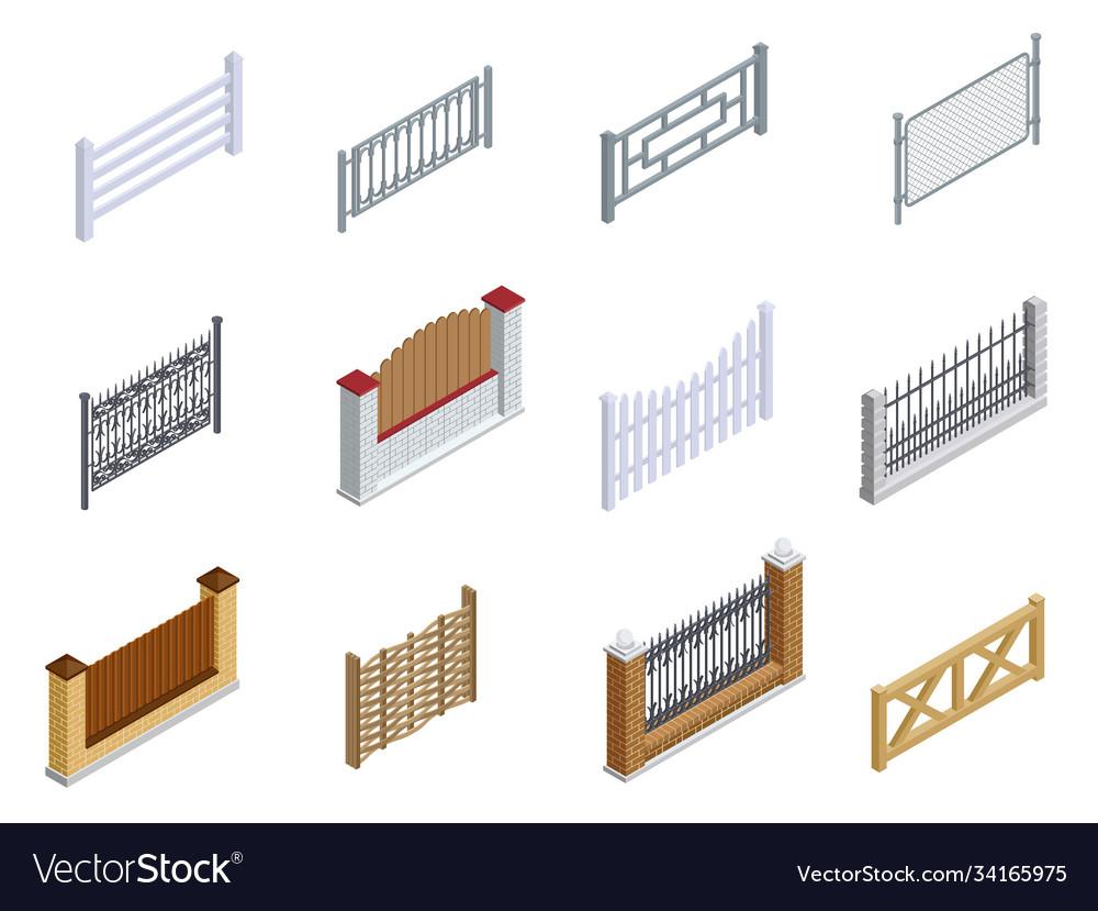 Fence metal brick wooden isometric icons set
