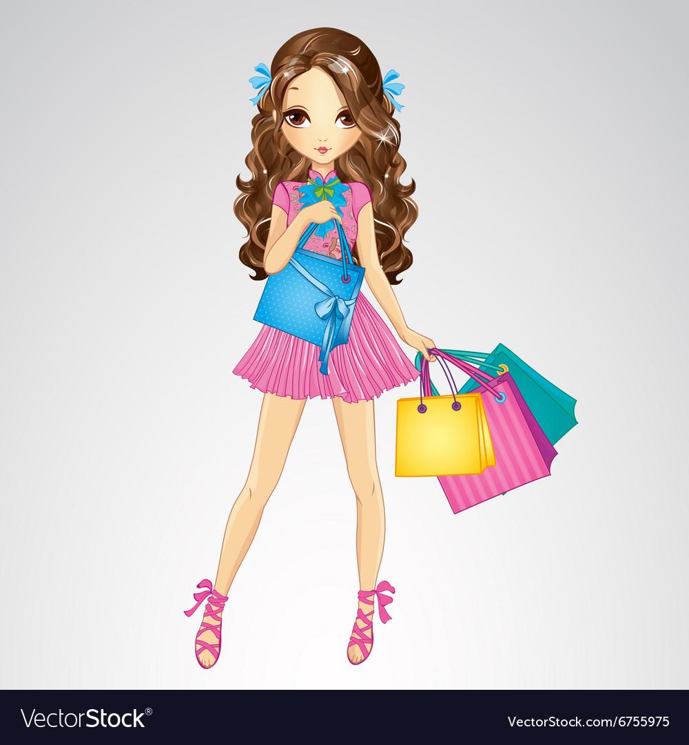 Girl In Pink Dress Do Shopping