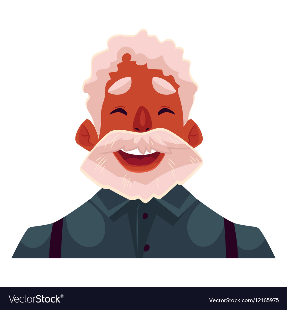 Grey haired old african man face laughing facial