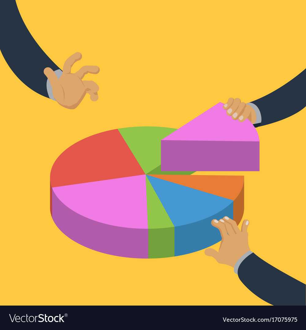Hands Taking Pieces Of Pie Chart Isometric Vector Image