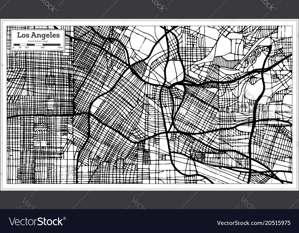 Los angeles california usa city map in retro Vector Image on
