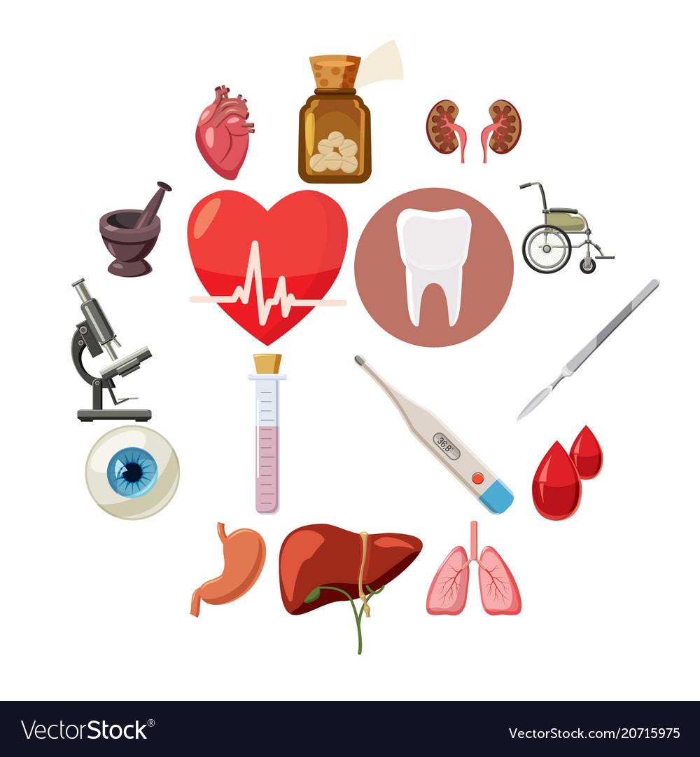 Medical icons set cartoon style