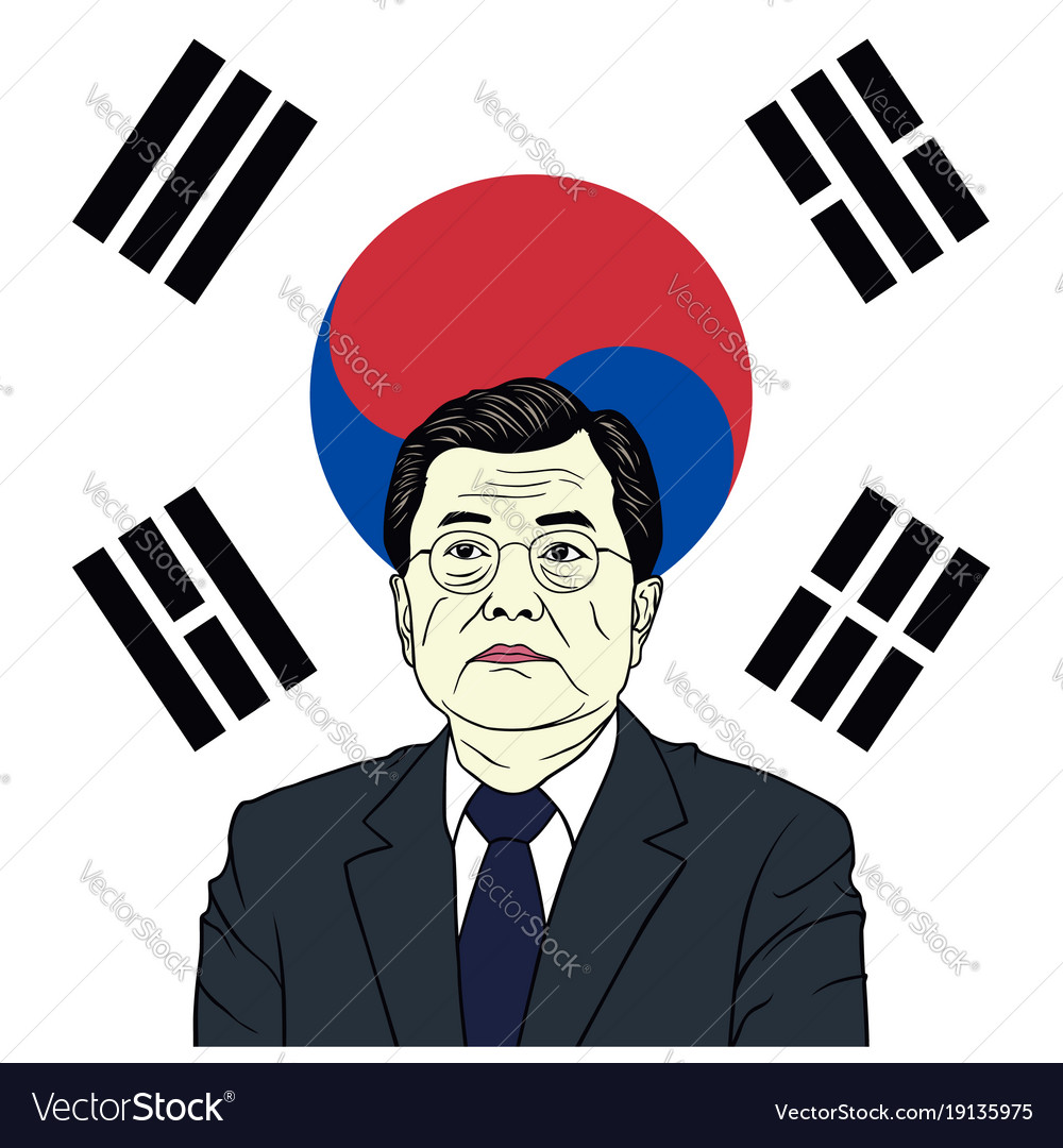 Moon jae-in president of south korea with flag
