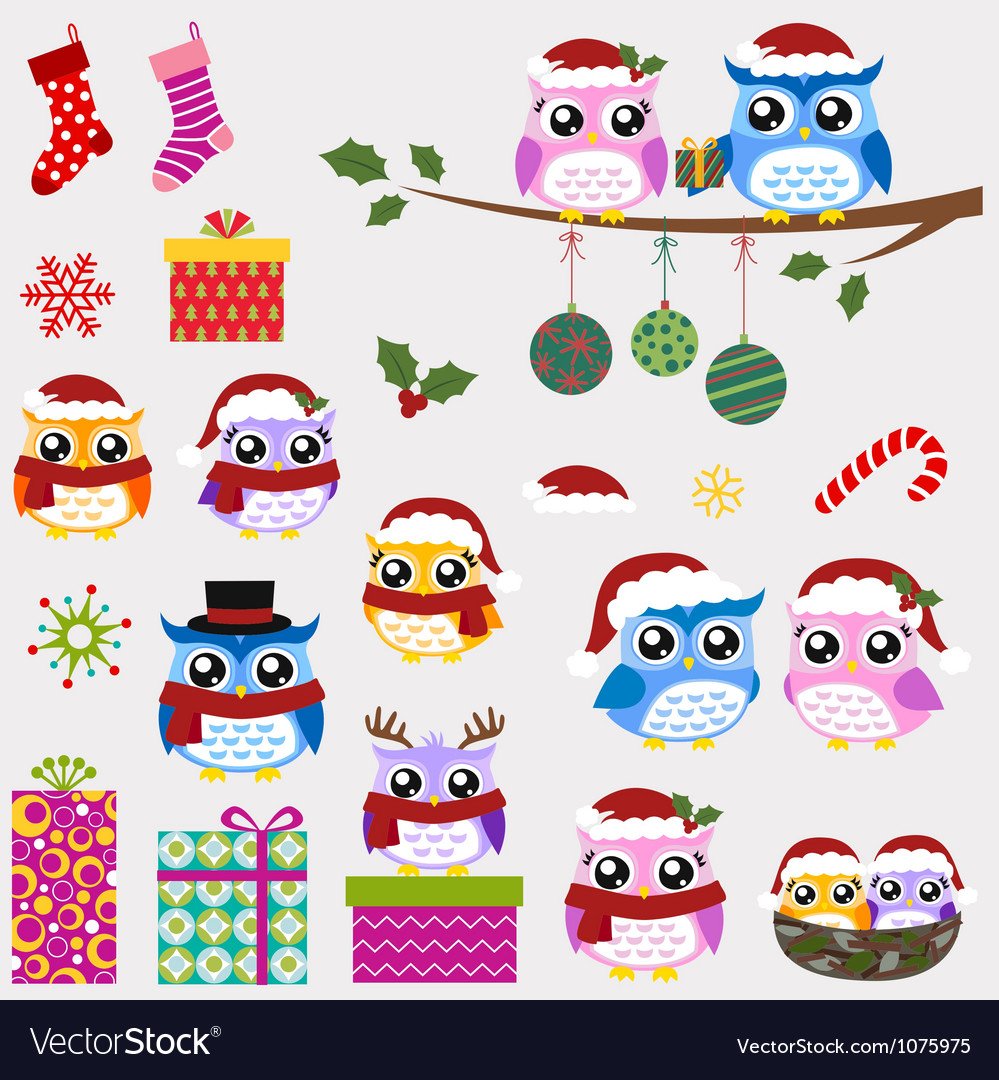 Owl christmas ornaments and gifts set