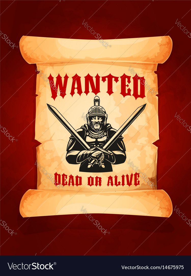 Poster wanted dead or alive medieval knight