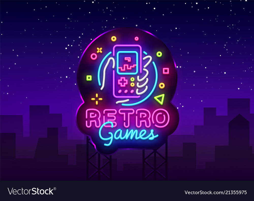 Retro games logo retro geek gaming gamepad