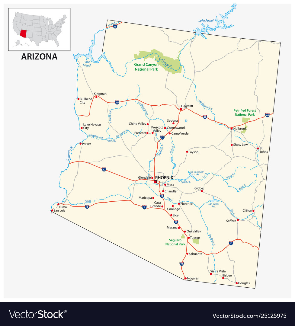 Road map us american state arizona